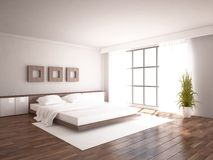 White bedroom interior design Stock Images