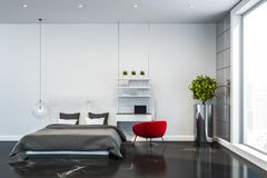 White bedroom interior with home office stock images