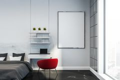 White bedroom interior with home office and poster royalty free stock photo