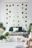 White bedroom interior with king size canopy bed with emerald pillows and grey blanket, urban jungle and green leafs on the wall. White bedroom interior with stock photography