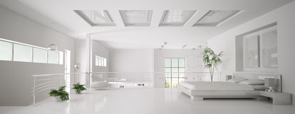 White bedroom interior panorama 3d render stock illustration