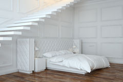White Bedroom Interior With Stairs (Perspective View) Stock Photos