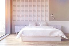 White bedroom interior, toned Royalty Free Stock Photography