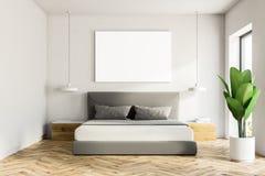 White bedroom interior, poster royalty free illustration