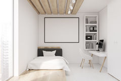 White wall bedroom and home office, front Royalty Free Stock Photography