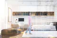 White wall bedroom and home office, single, girl Royalty Free Stock Image