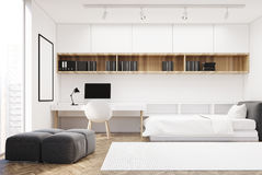 White wall bedroom and home office, single side Royalty Free Stock Images