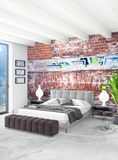 White bedroom minimal style Interior design with wood wall and grey sofa. 3D Rendering. Royalty Free Stock Image