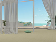 White bedroom overlooking the sea Royalty Free Stock Image