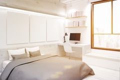 White bedroom with picture gallery, corner, toned Royalty Free Stock Photo