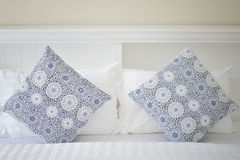 White bedroom. White pillows in white bedroom Royalty Free Stock Images