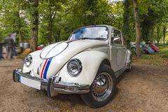 White beetle collector car. White beetle car with chrom wheel parked in a the middle of the green park Stock Photography