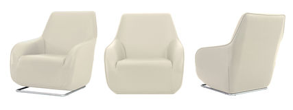 White Beige Armchair in all angles Royalty Free Stock Images