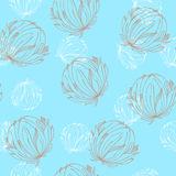 White and beige flowers. Seamless blue pattern with white and beige flowers Stock Images