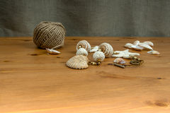 White-beige handmade crochet beads pendant natural seashel Stock Photo