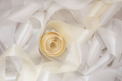 White and beige ribbon Stock Photo