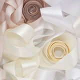 White and beige ribbon Stock Photos