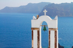 White belfries Santorini island, Greece Stock Image