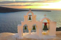 White belfry, Santorini island, Greece royalty free stock photography