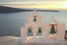 White  belfry, Santorini island, Greece Royalty Free Stock Photography