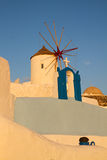 White  belfry, Santorini island, Greece Stock Photo