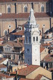 White bell tower of Church of St Mary in VENICE Stock Photography