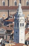 White bell tower of Church of St Mary in VENICE Royalty Free Stock Images