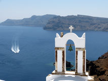 White bell tower of Oia Royalty Free Stock Image