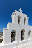 White bell tower in Pyrgos Kallistis, Santorini island, Thira, Greece Stock Photography