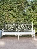 White bench in Catherine Park in Tsarskoye Selo Royalty Free Stock Photography