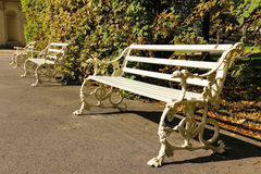 White bench decorated with dog heads. Wilanow Park. Poland Royalty Free Stock Image