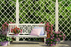 White bench in the garden. With flowers Royalty Free Stock Photography