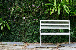 White bench in garden with leaves background Royalty Free Stock Photos