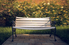 White Bench in the garden stock images