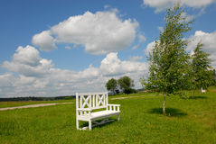 White bench on green grass Stock Photography