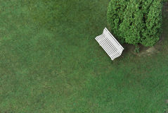 White bench with green grass Stock Photos