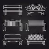 White bench line design on blackboard Stock Photo