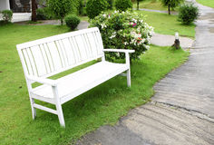 White bench made of wood Stock Photography