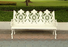 White bench in park Royalty Free Stock Photography