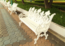 White bench in park Royalty Free Stock Photo