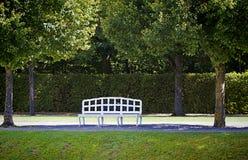 White bench under tree shade Royalty Free Stock Photos