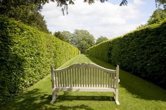 White Bench View. White wooden bench seat looking down a narrow lawn between green hedges Royalty Free Stock Image