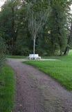 White benches. Grouped around a tree Stock Photo