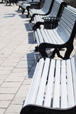 White benches in a park. White benches row in a city park Stock Photography