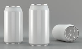 White beverage can mockups on bright background Royalty Free Stock Photography