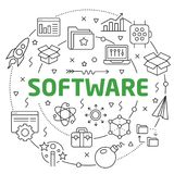 Software Linear illustration slide for the presentation Royalty Free Stock Photo