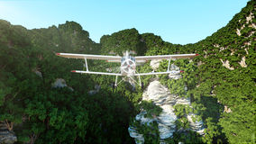 White bi plane flying in Mountains Cliffs with trees. rescuer. 3d rendering. Royalty Free Stock Photography