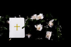 White Bible on Black. A white Bible on a background with flowers royalty free stock photo