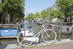 White bicycle in Amsterdam  Netherlands Stock Photos