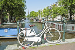 White bicycle in Amsterdam the Netherlands Royalty Free Stock Image